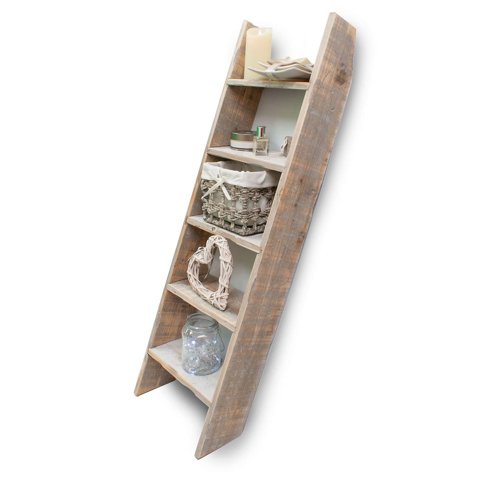 Ladder Shelving 5 Tier Wood Decorative Rustic Home Or Shop Display Di6