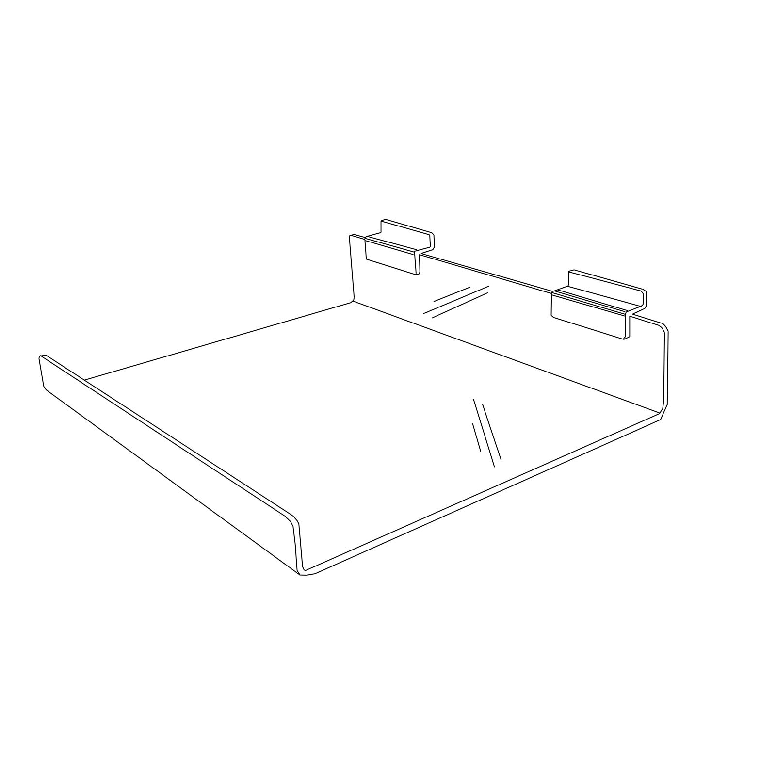 dbfead0f224 Large Acrylic Slatwall Shelf with Front Lip for Shoes (G233)