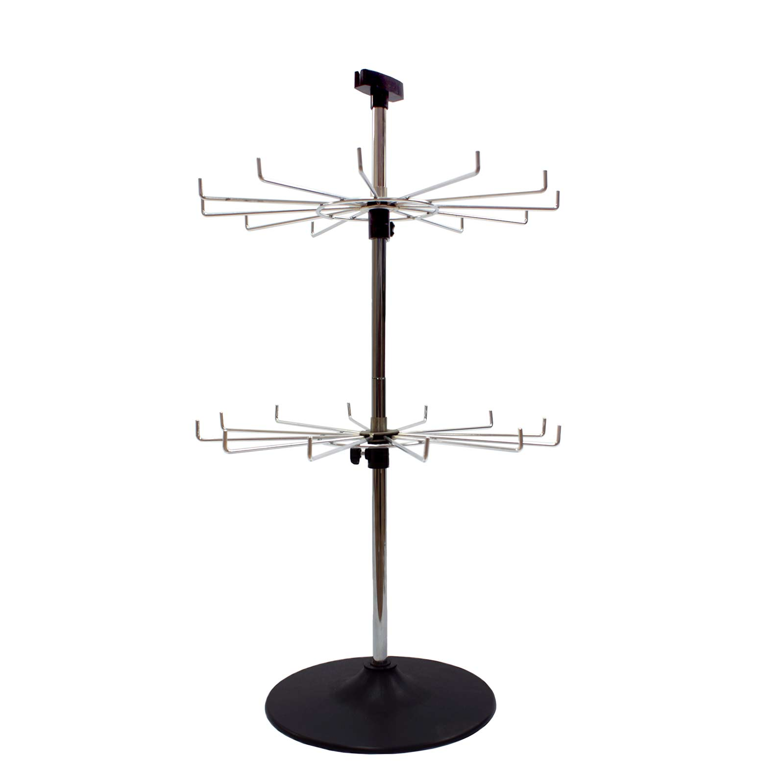 24 Hook 2 Adjustable Tier Rotary Shop Counter Display
