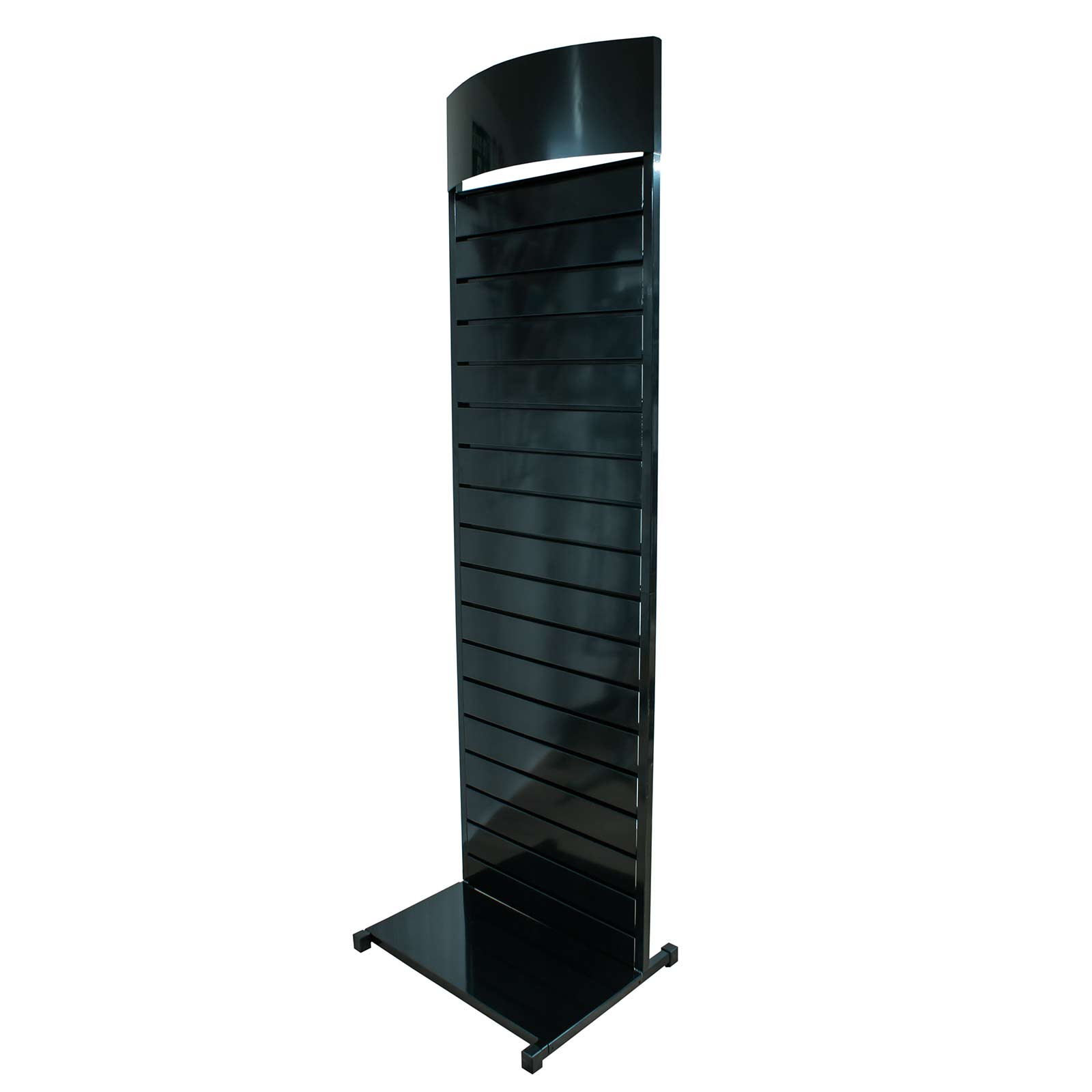 Metal Slatwall Display Stand With Bowed Header In Black